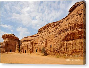 Ancient Nabatean Houses Canvas Print by Jun Roche