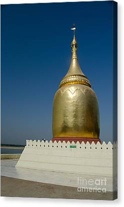 Ancient Riverside Stupa Along The Irrawaddy River In Burma Canvas Print