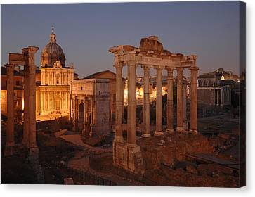 Ancient Romes Skyline At Sunset Canvas Print by Kenneth Garrett