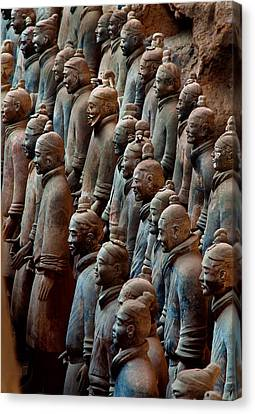 Ancient Soldier Statues Stand At Front Canvas Print by O. Louis Mazzatenta