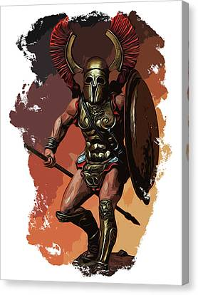 Infantryman Canvas Print - Ancient Spartan Warrior by Andrea Mazzocchetti