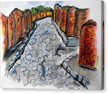 Ancient Street, Pompeii Canvas Print