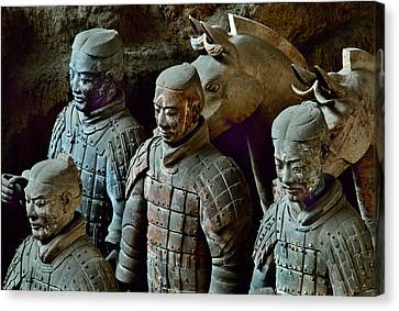 Ancient Terracotta Soldiers Lead Horses Canvas Print by O. Louis Mazzatenta