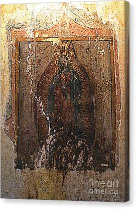 Ancient Virgin Of Guadalupe - Ex-convento Yuriria Canvas Print by Mexicolors Art Photography