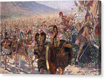 Antiquity Canvas Print - Ancient Warriors by Georges Marie Rochegrosse