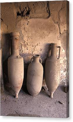 Ancient Wine Clay Vases  In A Wine Canvas Print by Richard Nowitz