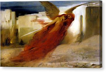 And There Was A Great Cry In Egypt Canvas Print by Arthur Hacker