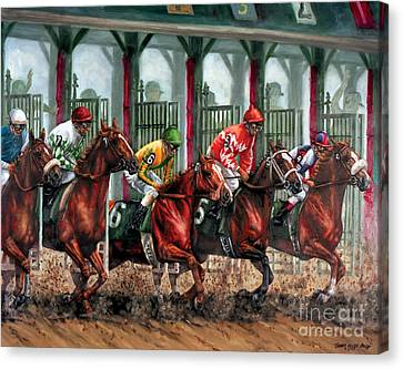 And They're Off Canvas Print by Thomas Allen Pauly