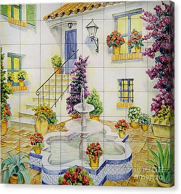 Andalusian Patio Canvas Print by Jose Angulo