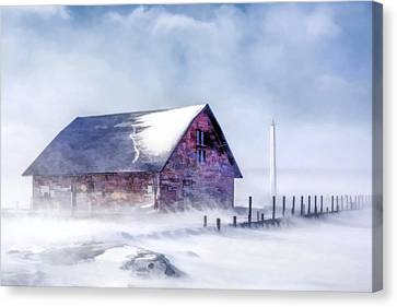 Canvas Print featuring the painting Anderson Dock Winter Storm by Christopher Arndt