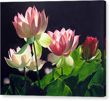 Canvas Print featuring the painting Andrea's Lillies by Marina Petro