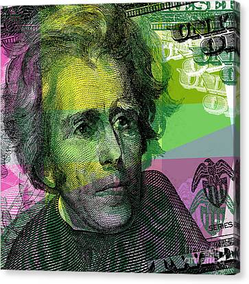 Canvas Print featuring the digital art Andrew Jackson - $20 Bill by Jean luc Comperat