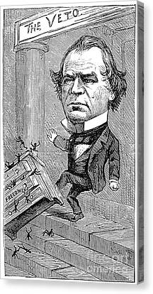 Andrew Johnson Cartoon Canvas Print by Granger