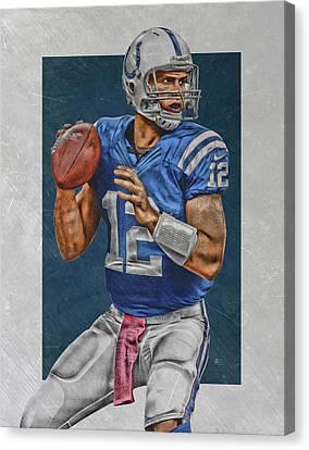 Andrew Luck Indianapolis Colts Art Canvas Print by Joe Hamilton