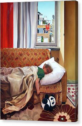 Rose Patterned Curtains Canvas Print - Andrew Sleeping by Rebecca Giles