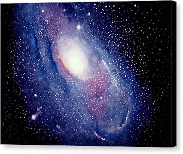 Canvas Print featuring the painting Andromeda Galaxy by Allison Ashton