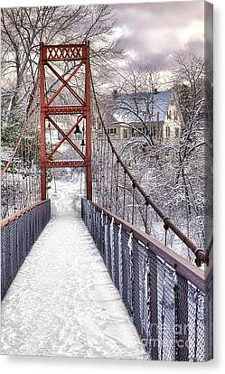 Androscoggin Swinging Bridge And Yellow House In Winter Canvas Print by Olivier Le Queinec