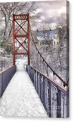 Androscoggin Swinging Bridge And Yellow House In Winter Canvas Print