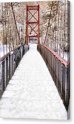 Maine Winter Canvas Print - Androscoggin Swinging Bridge In Snow by Olivier Le Queinec