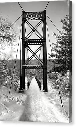 Androscoggin Swinging Bridge In Winter Canvas Print by Olivier Le Queinec
