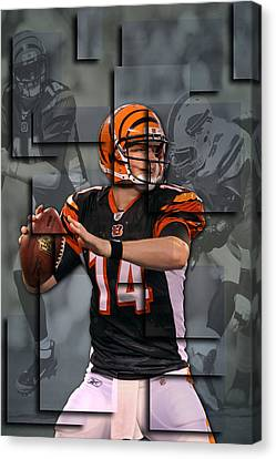 Andy Dalton Cincinnati Bengals Blocks Canvas Print by Joe Hamilton