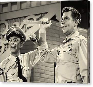 Andy Griffith And Don Knotts 1970 Canvas Print