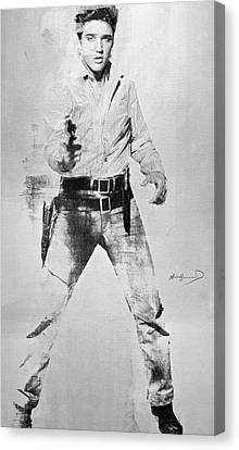 Computing Canvas Print - Andy Warhol's, Elvis Presley, Silk Screen, Photo Reference From  Flaming Star, Enhanced, Signed  by Thomas Pollart