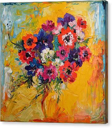 Anemones Bouquet, Floral Painitng, Flowers, Oil Painting Canvas Print