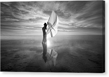Canvas Print featuring the photograph Angel Bw by Dario Infini