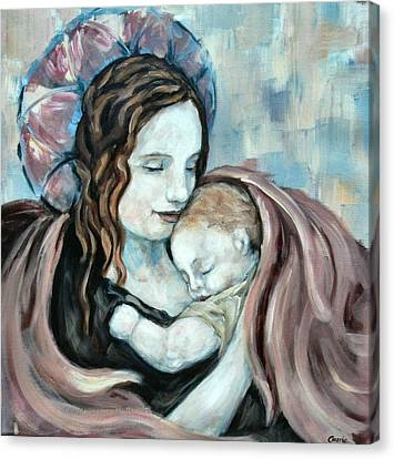 Angel And Baby No. 5 Canvas Print by Carrie Joy Byrnes