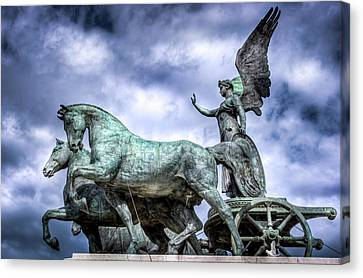 Angel And Chariot With Horses Canvas Print