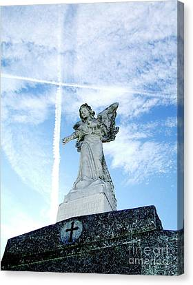 Angel And Crosses Canvas Print