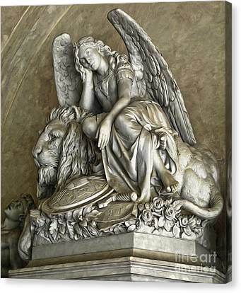 Angel And Lion Statue Canvas Print