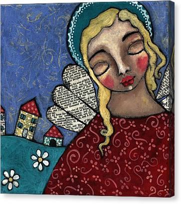 Angel And Village Canvas Print by Julie-ann Bowden