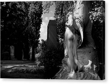Angel At The Grave Canvas Print by Marc Huebner