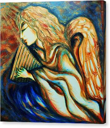 Canvas Print featuring the greeting card Angel Awakening by Rae Chichilnitsky