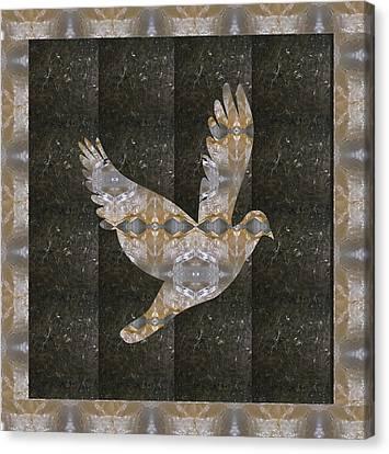 Angel Bird Made Of Crystal Stone Healing Rareearth Material With Border Canvas Print by Navin Joshi