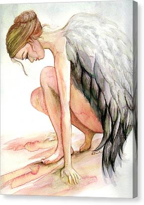 Angel Bowed Canvas Print by L Lauter