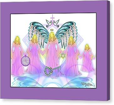 Canvas Print featuring the digital art Angel Cousins #198 by Barbara Tristan