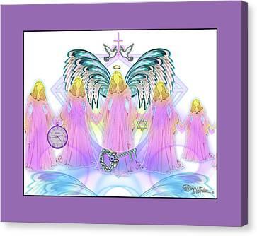Canvas Print featuring the digital art Angel Cousins #198 by Barbara Tristan