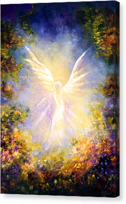 Canvas Print featuring the painting Angel Descending by Marina Petro