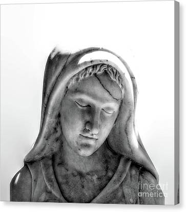 Angel Face Statue Black And White Canvas Print