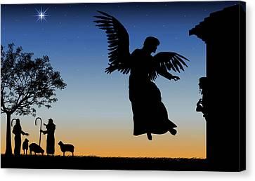 Angel Gives Mary Good News Canvas Print