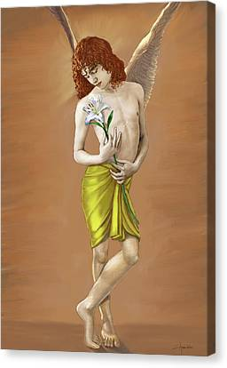 Angel Holding A Lily Canvas Print by Dominique Amendola