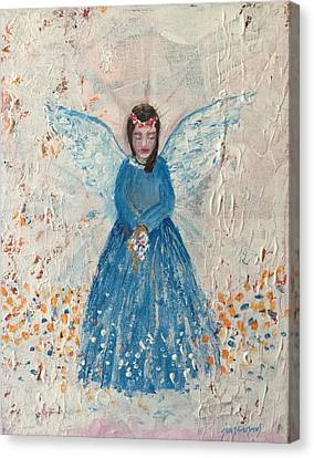 Angel In Blue Canvas Print by Jun Jamosmos