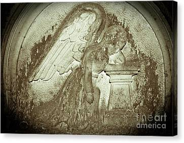 Canvas Print featuring the relief Angel In Grief by Yurix Sardinelly