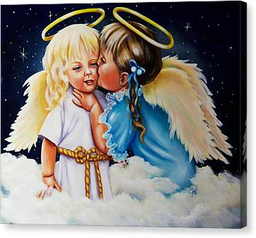 Canvas Print featuring the painting Angel Kiss by Joni McPherson