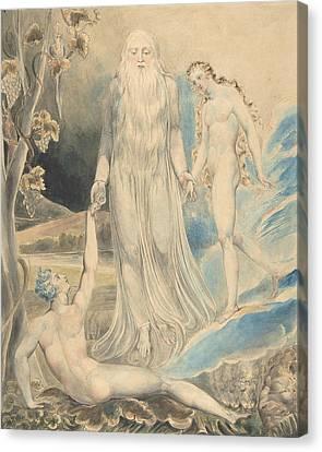 Blake Canvas Print - Angel Of The Divine Presence Bringing Eve To Adam by William Blake