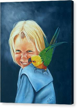 Canvas Print featuring the painting Angel On My Shoulder by Joni McPherson