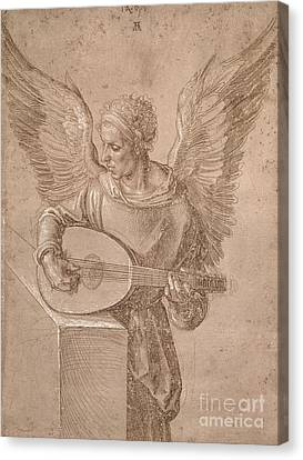 Angel Playing A Lute Canvas Print by MotionAge Designs